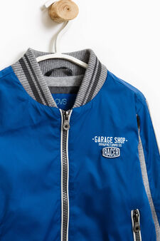 Windbreaker with fleece sleeves, Grey/Blue, hi-res