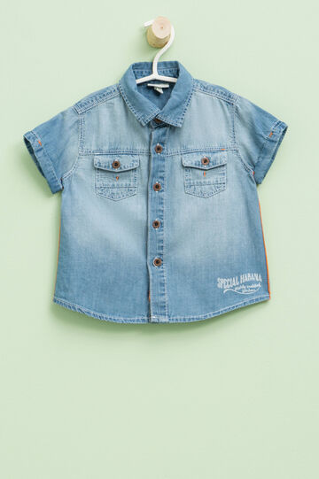 Denim shirt with print, Blue, hi-res