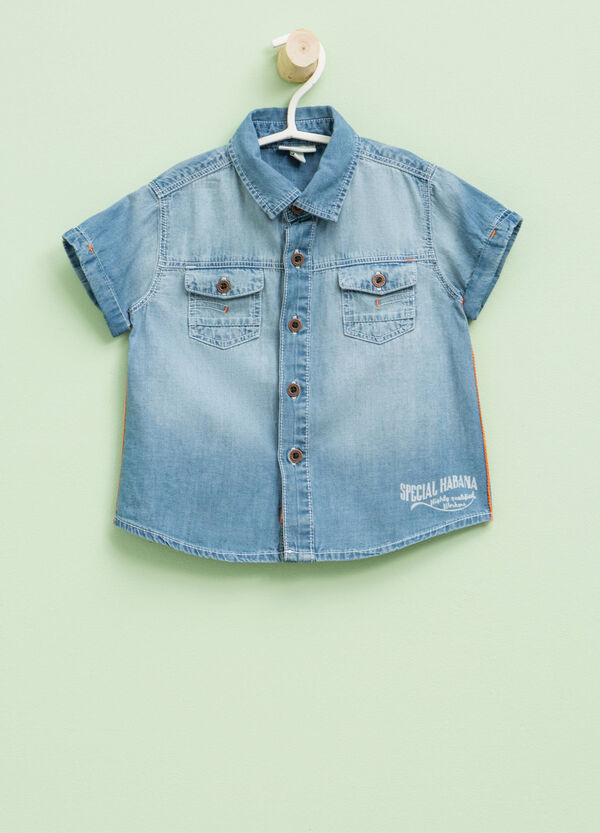 Denim shirt with print | OVS