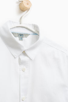Solid colour 100% cotton shirt, White, hi-res
