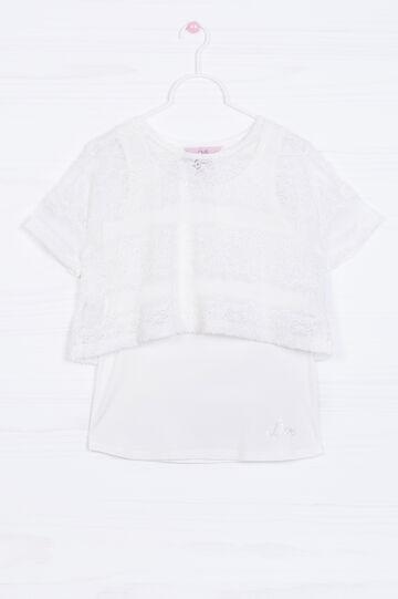T-shirt stretch finto doppio, Bianco, hi-res