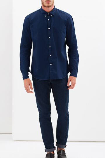 Slim fit shirt with button-down collar, Dark Blue, hi-res
