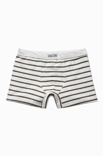 Striped cotton boxers with patches, Green/Grey, hi-res