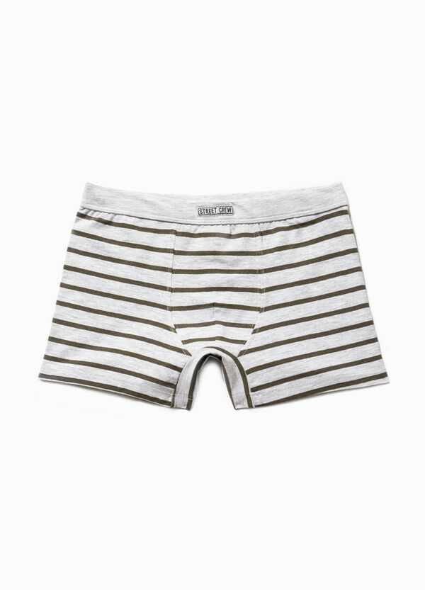 Striped cotton boxers with patches | OVS