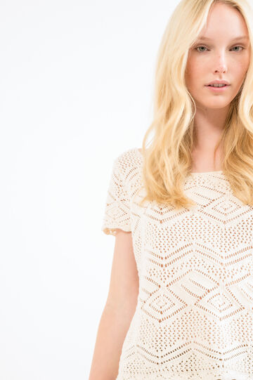 Short-sleeved pullover with diamond motif, Natural, hi-res