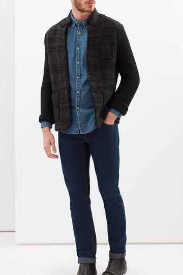 Camicia in jeans con taschino e carré, Blu denim, hi-res