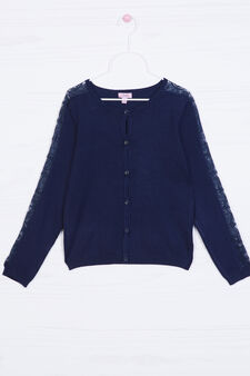 Viscose blend cardigan with lace, Blue, hi-res