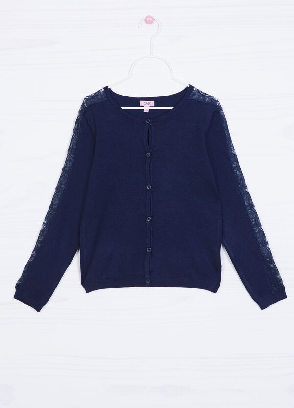 Viscose blend cardigan with lace   OVS