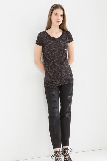 Viscose blend T-shirt with pocket, Black, hi-res
