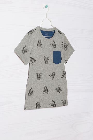 T-shirt puro cotone con taschino, Grigio melange, hi-res