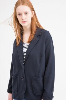 Plain Curvy jacket, Navy Blue, hi-res