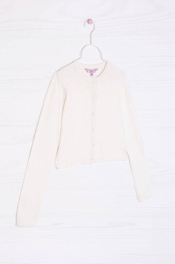 Coprispalle misto cotone tricot, Bianco, hi-res