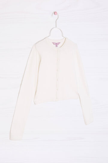 Cotton blend knit shrug, White, hi-res