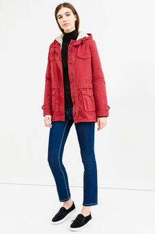 100% cotton parka with fur lining, Red, hi-res
