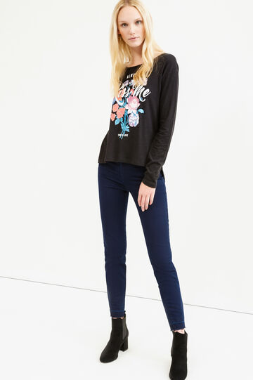 Printed T-shirt with rounded hem, Black, hi-res