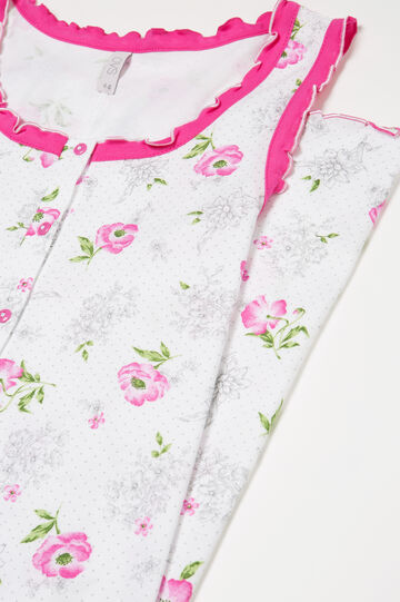 Floral patterned cotton nightshirt, White/Pink, hi-res