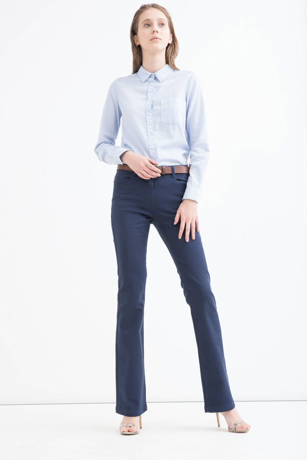 Solid colour stretch bell-bottom jeans | OVS