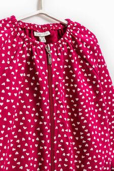 100% cotton patterned sweatshirt with zip, Fuchsia, hi-res