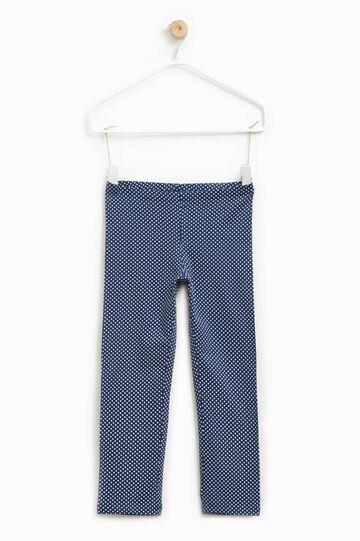 Leggings en algodón elástico con fantasía, Blanco/Azul, hi-res