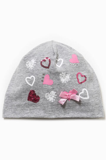 Beanie cap with bow and glitter, Light Grey, hi-res