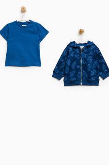 Cotton sweatshirt and T-shirt set, Blue, hi-res