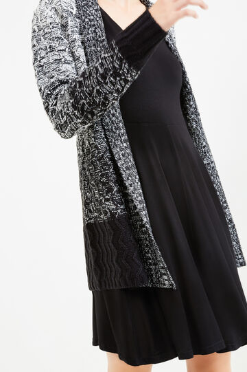 Long degradé cardigan with shawl neck, Black/White, hi-res