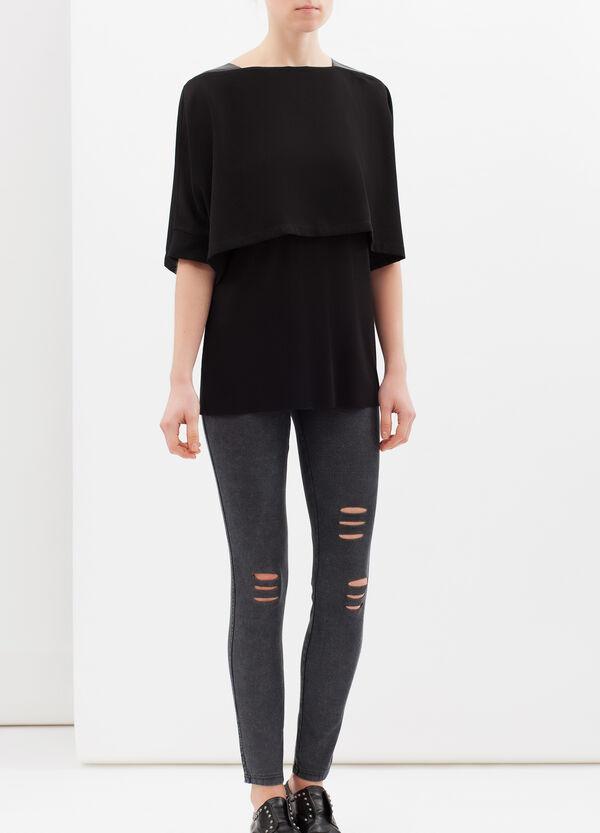 Plain blouse in stretch viscose blend. | OVS