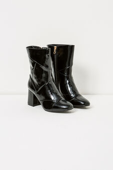 Solid colour shiny ankle boots with zip, Black, hi-res