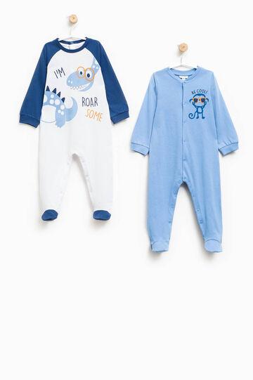 Two-pack printed cotton pyjama onesies, White/Blue, hi-res