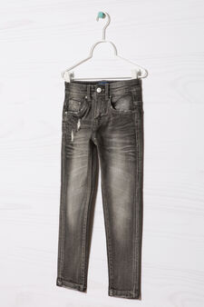 Blue Black stretch jeans with rips, Grey, hi-res