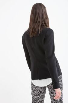 Stretch, solid colour blazer, Black, hi-res