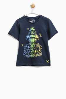 T-shirt with skull and spaceship print, Navy Blue, hi-res