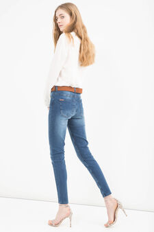 Skinny-fit, worn-effect jeans, Medium Wash, hi-res