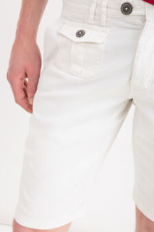 100% cotton Bermuda chinos with drawstring, White, hi-res