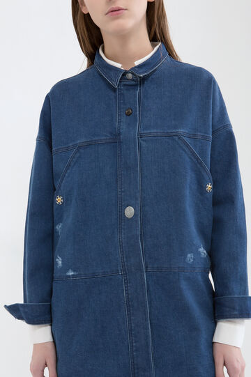 Denim jacket with buttons, Denim Blue, hi-res