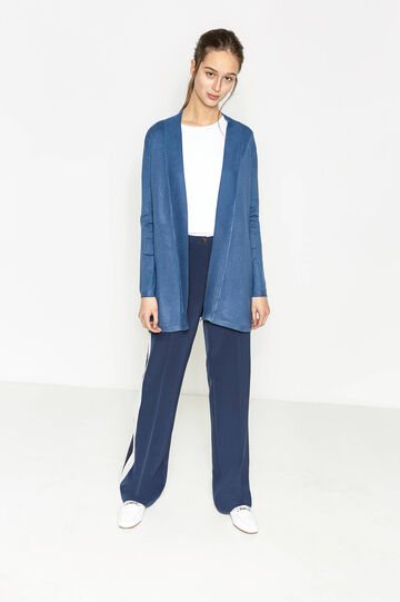 Long cardigan without buttons, Denim Blue, hi-res
