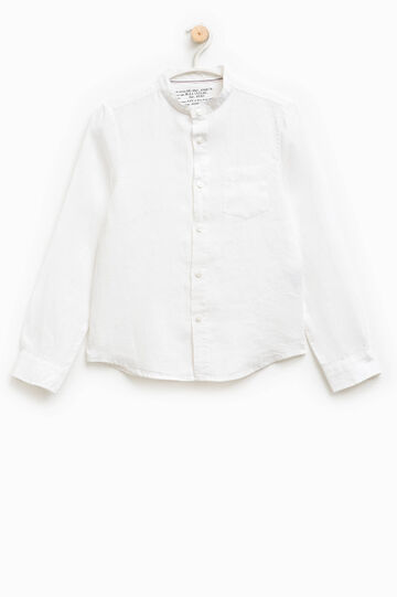 Camicia in lino con colletto alla coreana, Bianco, hi-res