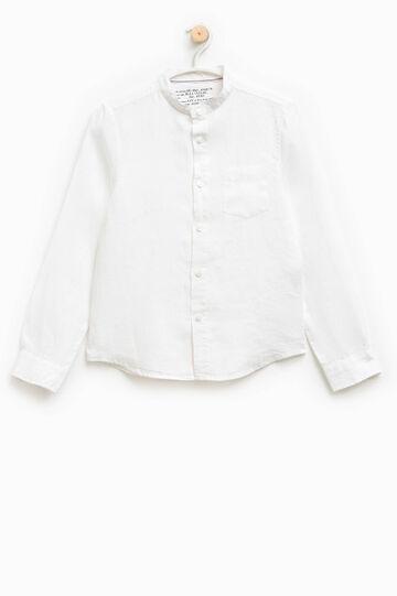 Linen shirt with mandarin collar, White, hi-res