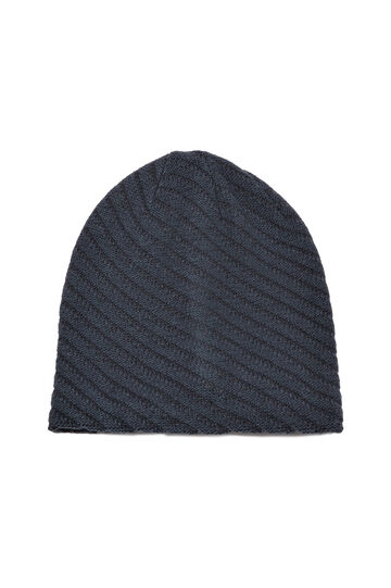 Striped-pattern beanie cap, Deep Blue, hi-res