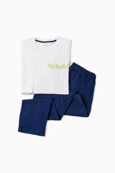 Solid colour pyjamas with lettering, Optical White, hi-res