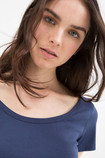 T-shirt girocollo in puro cotone, Blu navy, hi-res