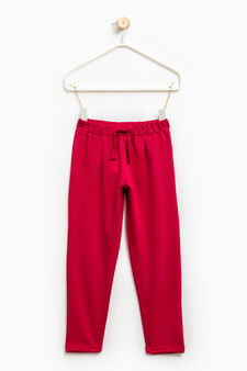 Stretch trousers with drawstring, Cherry Red, hi-res