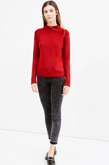 Pullover with high neck and slits, Red, hi-res