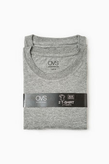 Two-pack cotton undershirts with round neck, Grey Marl, hi-res