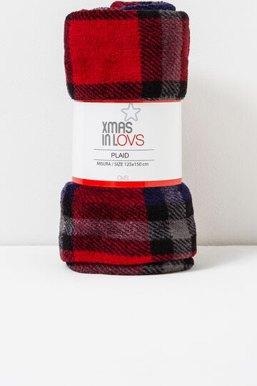 Tartan fleece throw, Blue/Red, hi-res