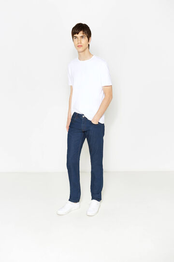 Jeans straight fit cuciture a contrasto