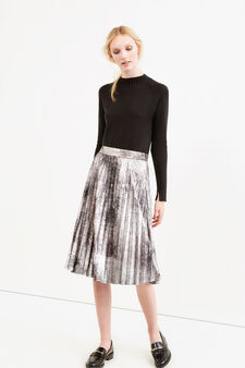 Pleated lined midi skirt, Grey/Silver, hi-res