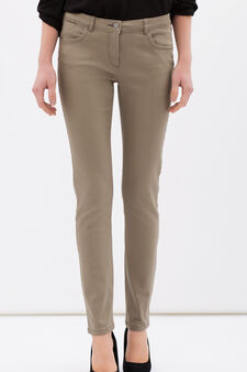 Stretch cotton blend trousers, Beige, hi-res