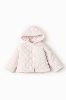 Quilted jacket with hood, Pink, hi-res