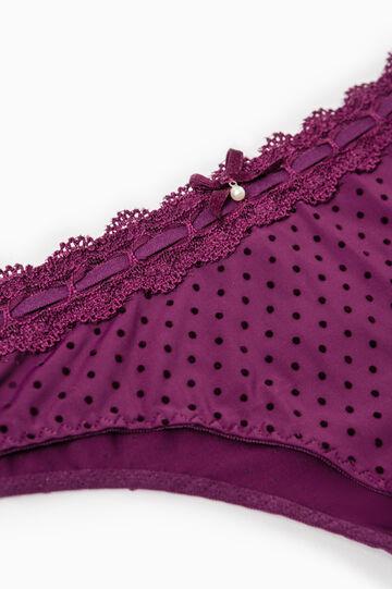 Polka dot stretch Brazilian cut briefs with lace trim, Aubergine, hi-res